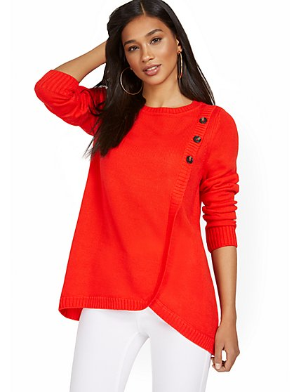 Three-Button Overlapped Tunic Sweater - New York & Company