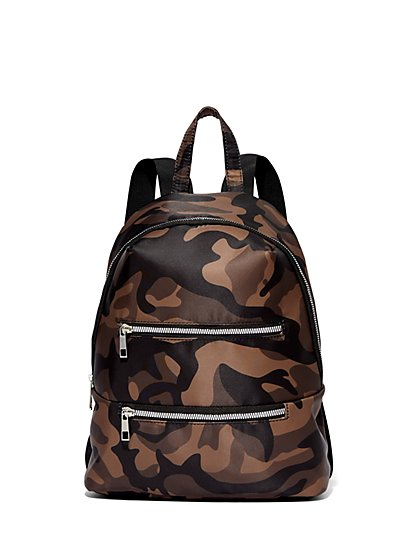 Three-Zip Camo Backpack - New York & Company