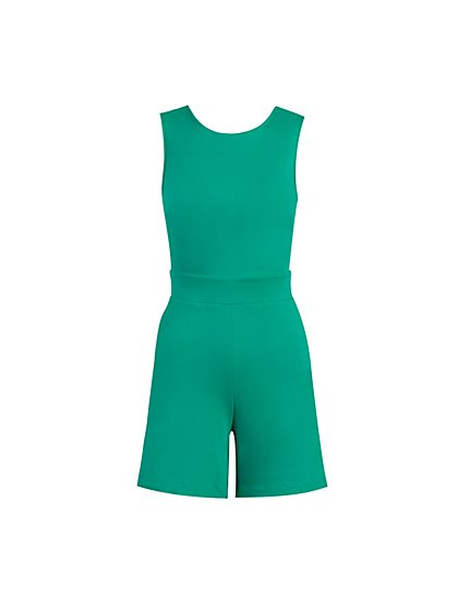 Tie-Back Cotton Romper - New York & Company