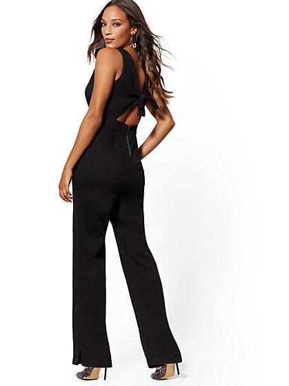Tie-Back Denim Jumpsuit - Black - New York & Company