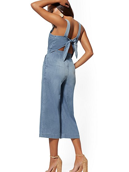 Tie-Back Pinafore Jumpsuit - Charming Blue - Soho Jeans - New York & Company