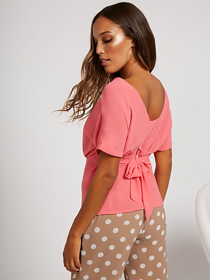 Tie-Back Short-Sleeve Blouse - Sweet Pea - New York & Company