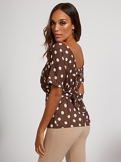 Tie-Back Short-Sleeve Polka Dot Blouse - Sweet Pea - New York & Company
