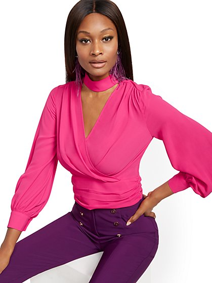 Tie-Back Wrap Blouse - 7th Avenue - New York & Company