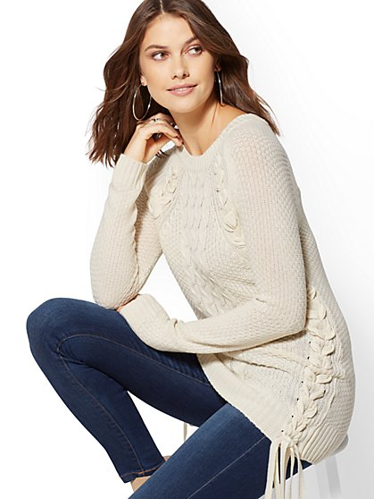 Tie-Detail Braided Tunic Sweater - New York & Company