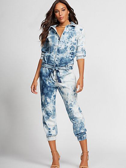 Tie-Dye Denim Jumpsuit - Gabrielle Union Collection - New York & Company