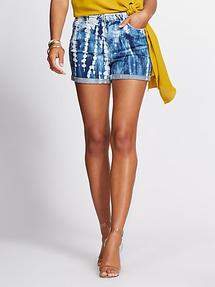 Tie-Dye Denim Short - Island Blue - Gabrielle Union Collection - New York & Company