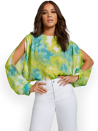 Tie-Dye Gauze Slit-Sleeve Top - New York & Company