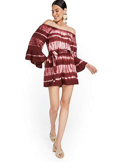 Tie-Dye Off-The-Shoulder Romper - New York & Company