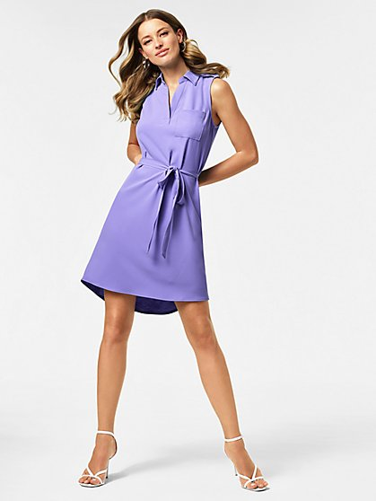 Tie-Front Belted Shirtdress - New York & Company
