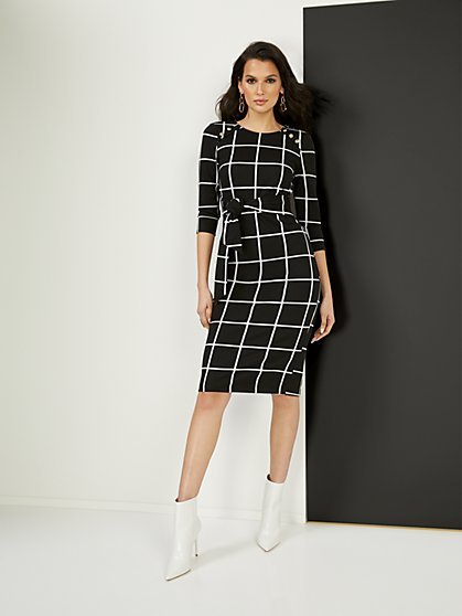Tie-Front Button-Accent Ponte Dress - Superflex - New York & Company