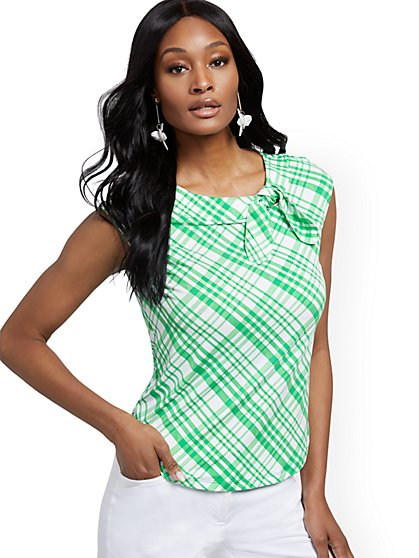 Tie-Front Cap-Sleeve Top - 7th Avenue - New York & Company