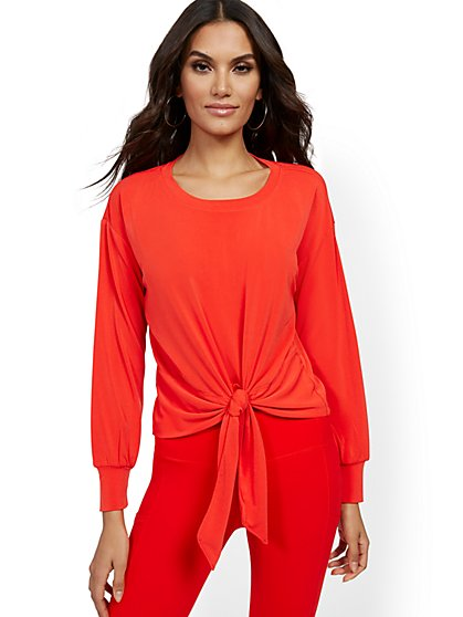 Tie-Front Crepe Top - New York & Company