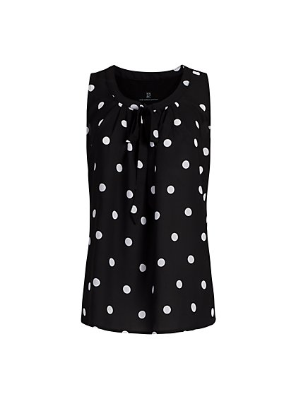 Tie-Front Dot-Print Sleeveless Top - New York & Company