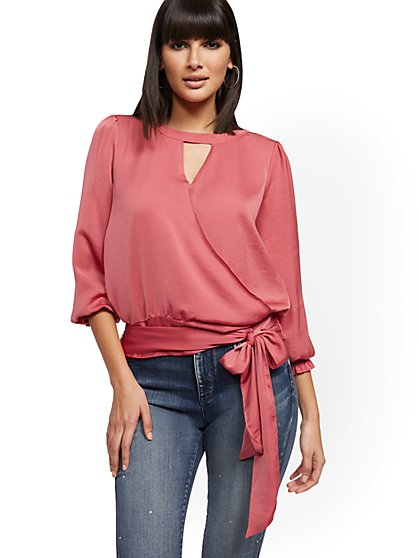 Tie-Front Keyhole Wrap Blouse - New York & Company