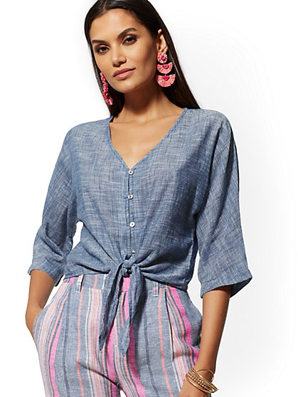 e7f9165039 Tie-Front Kimono Shirt - New York   Company ...