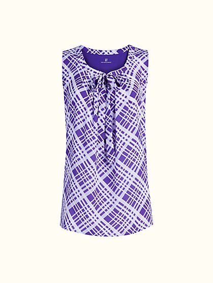 Tie-Front Mixed-Print Sleeveless Top - New York & Company