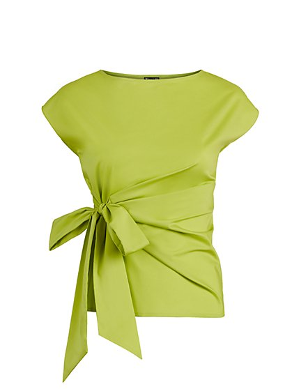 Tie-Front Poplin Top - 7th Avenue - New York & Company