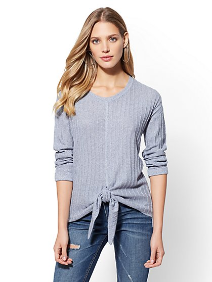 Tie-Front Ribbed-Knit Marled Sweater - New York & Company