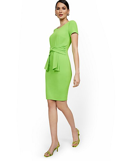Tie-Front Sheath Dress - Magic Crepe® - New York & Company