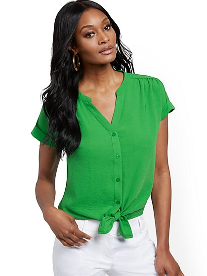 Tie-Front Short-Sleeve Blouse - New York & Company