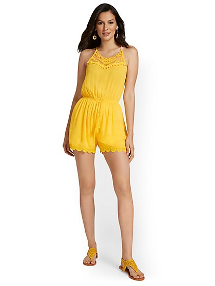 Tie-Front Sleeveless Crochet Romper Coverup - NY&C Swimwear - New York & Company