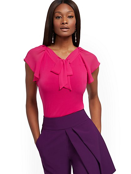 Tie-Front V-Neck Top - 7th Avenue - New York & Company
