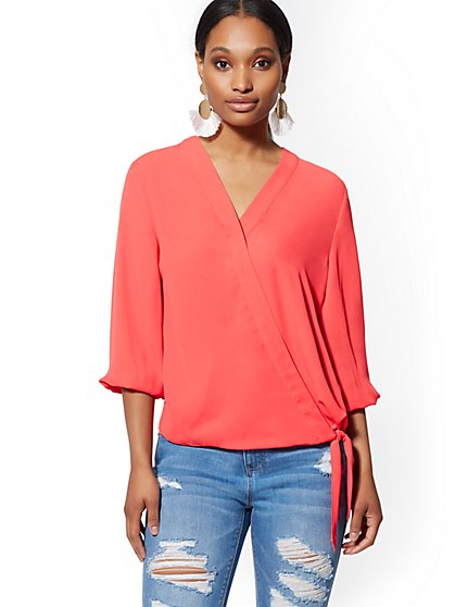 8666c3742aa71 Tie-Front Wrap Blouse - Soho Soft Shirt - New York   Company ...