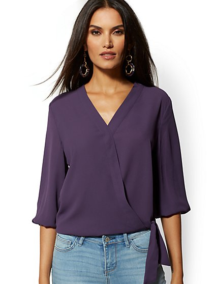 Tie-Front Wrap Blouse - Soho Soft Shirt - New York & Company