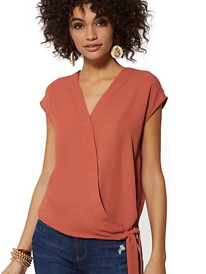 a511bdab3ec Tie-Front Wrap Blouse - Soho Soft Shirt - New York   Company ...