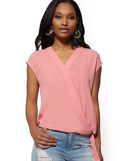 d4028fc66e Tie-Front Wrap Blouse - Soho Soft Shirt - New York   Company ...