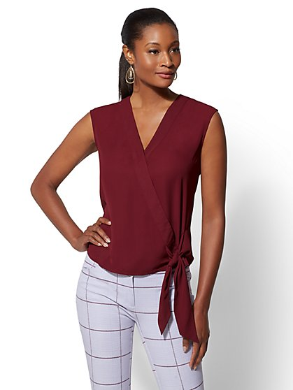 Tie-Front Wrap Blouse - New York & Company