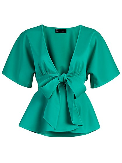 Tie-Front Wrap Top - New York & Company