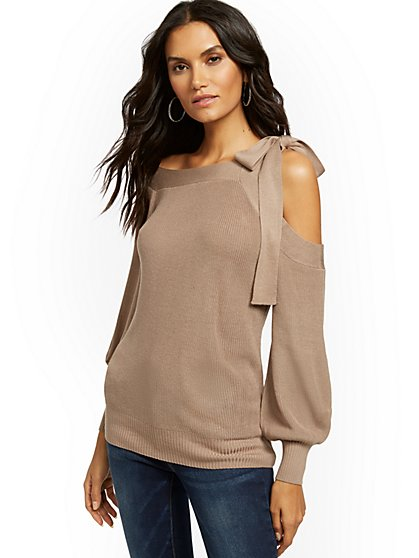 Tie-Neck One-Shoulder Sweater - New York & Company
