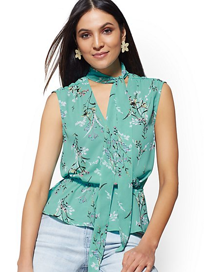 Tie-Neck Peplum Blouse - New York & Company