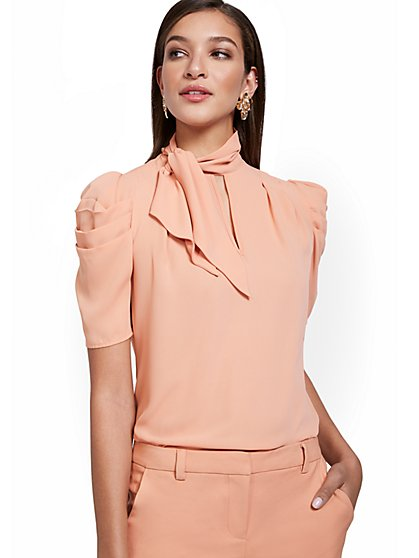 Tie-Neck Puff-Sleeve Blouse - New York & Company