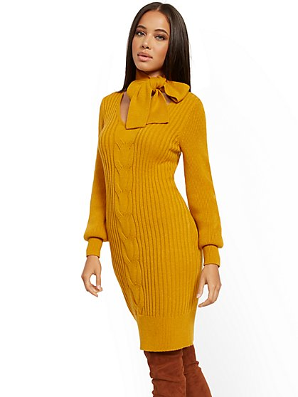 Tie-Neck Sweater Dress - New York & Company