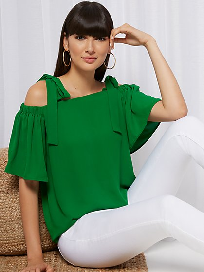Tie-Shoulder Blouse - Sweet Pea - New York & Company