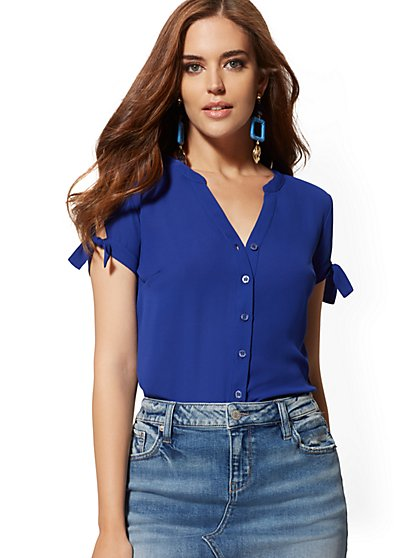 Tie-Sleeve Blouse - Soho Soft Shirt - New York & Company