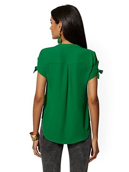 83601465f744a9 ... Tie-Sleeve Blouse - Soho Soft Shirt - New York & Company