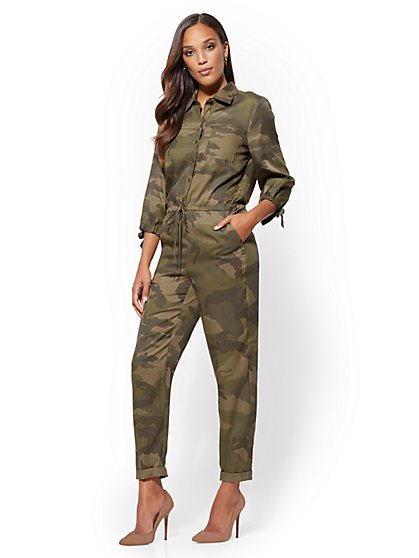 Tie-Sleeve Camo Jumpsuit - New York & Company