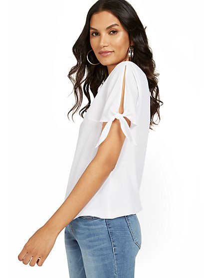 Tie-Sleeve Scoopneck Top - New York & Company