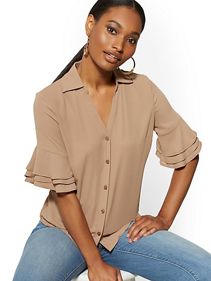 Tiered Flounce-Cuff Blouse - Soho Soft Blouse - New York & Company