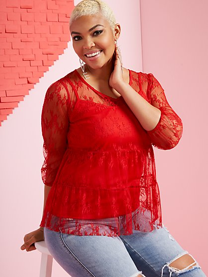 Tiered Lace Blouse - New York & Company
