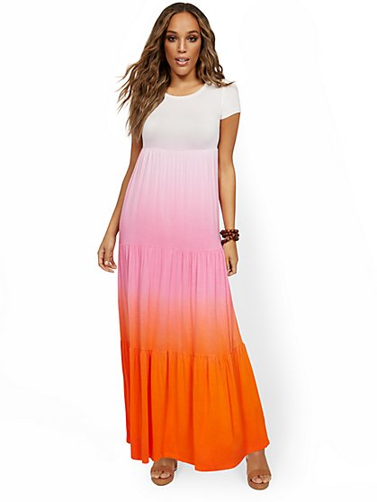 Tiered Ombre T-Shirt Maxi Dress - New York & Company
