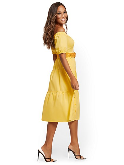 Tiered Poplin Off-The-Shoulder Midi Dress - New York & Company