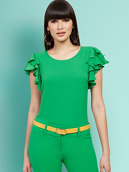 Tiered Ruffle-Sleeve Top - New York & Company