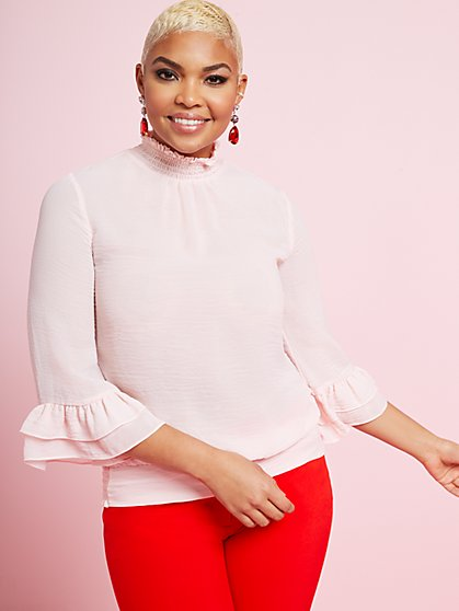 Tiered Sleeve Mock-Neck Blouse - New York & Company