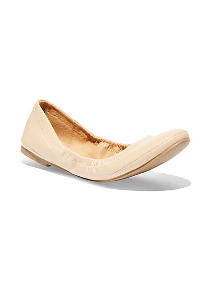 Topstitched Faux-Leather Ballet Flat - New York & Company