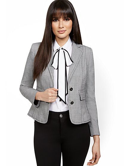 Topstitched Two-Button Jacket - 7th Avenue - New York & Company